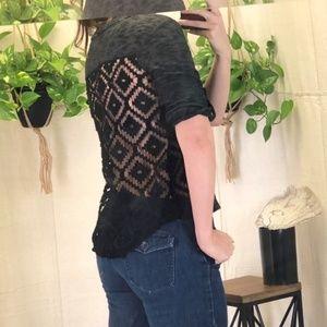 Xhilaration black crocheted lace back top